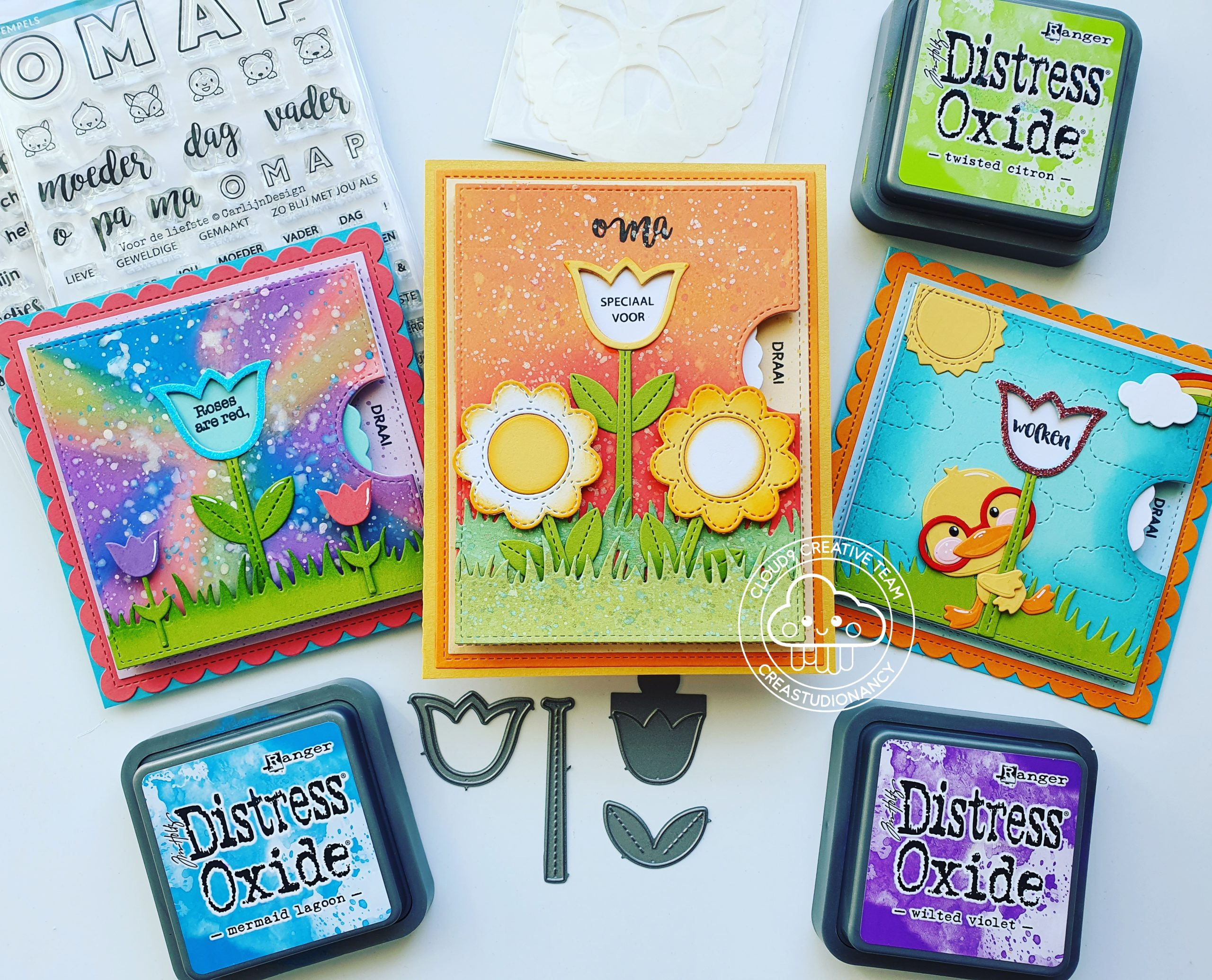 Reveal Wheel Cards with the Tulip add-on +Templates from Lawn Fawn.